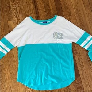 Long-Sleeve Blue and White Shirt